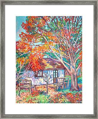Claytor Lake Cabin In Fall Framed Print