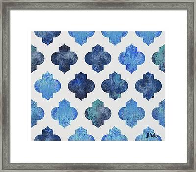 Clean Blue Quatrefoil I Framed Print by Patricia Pinto