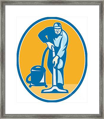 Cleaner Janitor Worker Vacuum Cleaning Framed Print by Aloysius Patrimonio