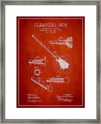 Cleaning Mop Patent From 1905 - Red Framed Print