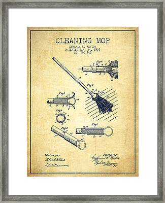 Cleaning Mop Patent From 1905 - Vintage Framed Print by Aged Pixel