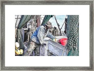 Cleaning Up After The Haul Framed Print by Patricia Greer