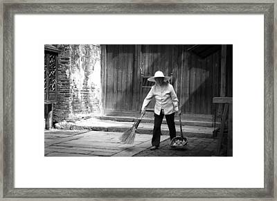 Cleaning Up Framed Print by Becky Kozlen