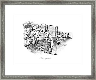 Cleanup Man Framed Print by William Steig