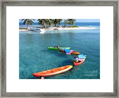 Clear Blue Water And Island Framed Print by Eva Kaufman