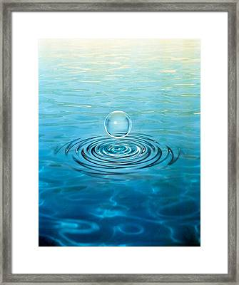 Clear Bubble Floating Above Water Framed Print by Panoramic Images