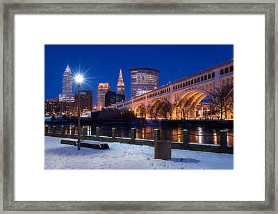 Clear Sky Cleveland Winter Framed Print