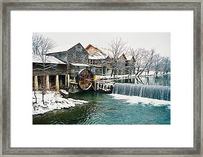 Clear Winter Day At The Old Mill Framed Print by John Saunders