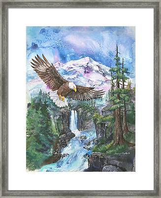 Framed Print featuring the painting Cleared For Landing Mount Baker by Sherry Shipley