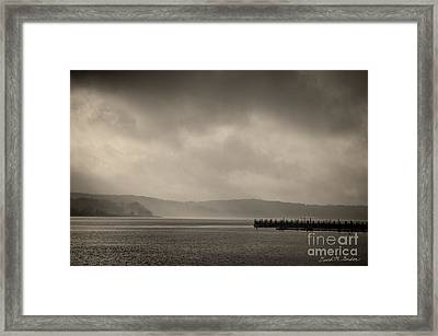 Clearing Fog On Taunton River Framed Print by David Gordon
