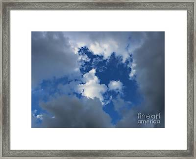 Clearing Sky - Clouds - Blue Sky Framed Print by Barbara Griffin