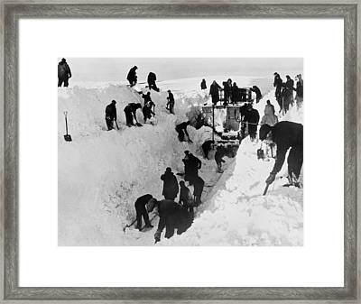 Clearing Snow For Trains Framed Print by Underwood Archives
