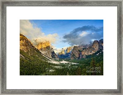 Clearing Storm - Yosemite National Park From Tunnel View. Framed Print