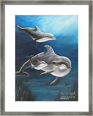Clearwater Beach Dolphins Framed Print