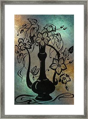 Clematises In Indian Pitcher. Blue Framed Print by Jenny Rainbow