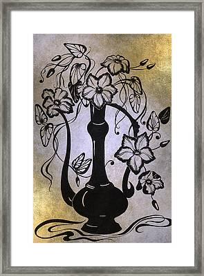 Clematises In Indian Pitcher. Golden Framed Print by Jenny Rainbow