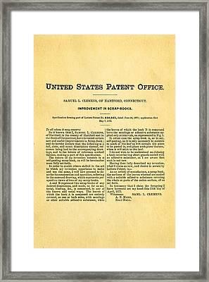 Clemens Mark Twain Scrap Book 2 Patent Art 1873 Framed Print by Ian Monk
