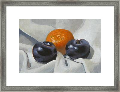 Clementine And Plums Framed Print by Peter Orrock