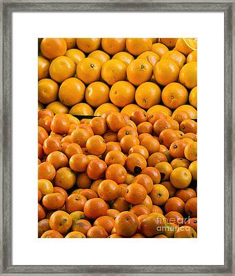 Clementines And Oranges In Market Framed Print