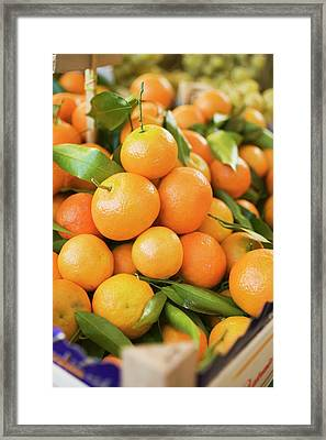 Clementines In Crates At A Market Framed Print