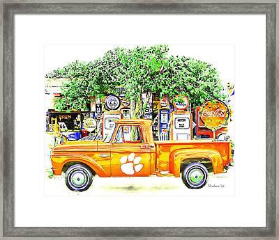 Clemson Tigers Vintage Fan Art  Framed Print