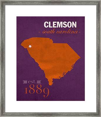 Clemson University Tigers College Town South Carolina State Map Poster Series No 030 Framed Print