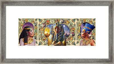 Cleo Tut Neffi Triptych Framed Print by Andrew Farley