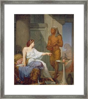 Cleopatra And Her Slave  Framed Print by Henri Blaise Francois Dejussieu