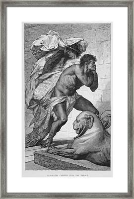 Cleopatra Carried Into The Palace, 19th Century Engraving On Paper Framed Print