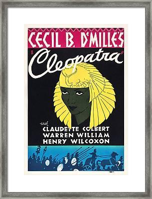 Cleopatra, Claudette Colbert On Poster Framed Print by Everett