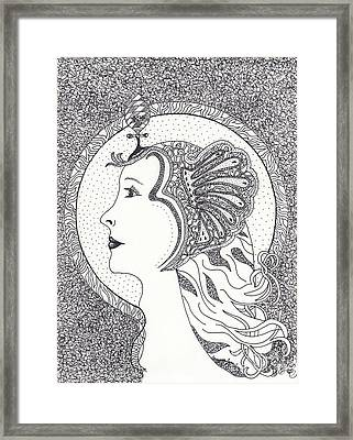 Framed Print featuring the drawing Cleopatra  by Tamyra Crossley