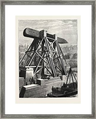 Cleopatras Needle  The Machinery For Placing The Obelisk Framed Print by English School