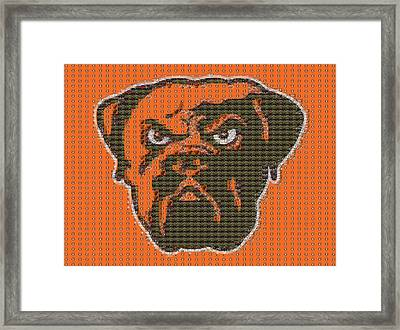 Cleveland Browns Mosaic Framed Print by Dan Sproul