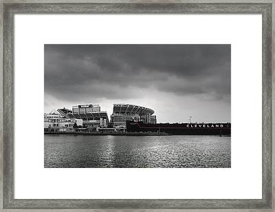 Cleveland Browns Stadium From The Inner Harbor Framed Print by Kenneth Krolikowski