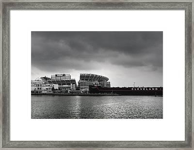 Cleveland Browns Stadium From The Inner Harbor Framed Print