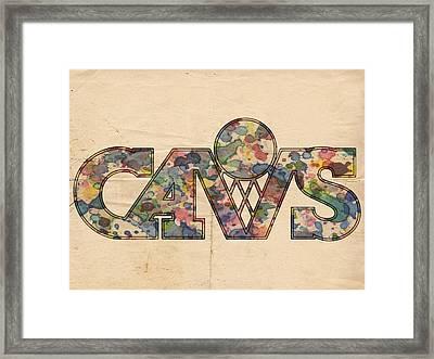 Cleveland Cavaliers Retro Art Framed Print by Florian Rodarte