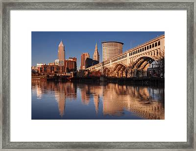 Cleveland From The River Golden Hour Framed Print