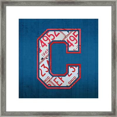Cleveland Indians Baseball Team Vintage Logo Recycled Ohio License Plate Art Framed Print