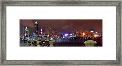 Cleveland Lakefront Night Panorama Framed Print