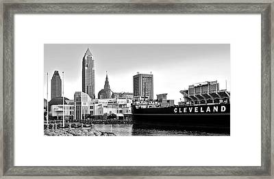 Cleveland Ohio Black And White Panorama Framed Print by Frozen in Time Fine Art Photography
