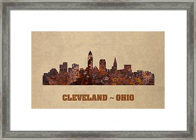 Cleveland Ohio City Skyline Rusty Metal Shape On Canvas Framed Print by Design Turnpike