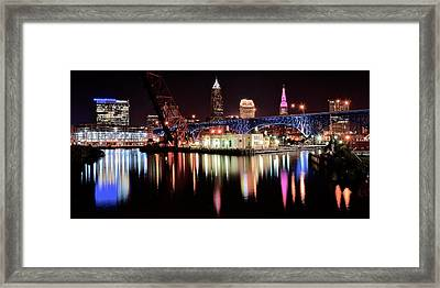Cleveland Panoramic Reflection Framed Print by Frozen in Time Fine Art Photography
