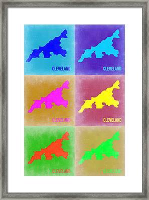 Cleveland Pop Art Map 3 Framed Print by Naxart Studio