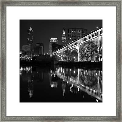 Cleveland Reflections In Black And White Framed Print by Clint Buhler