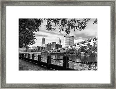 Cleveland River Cityscape Framed Print