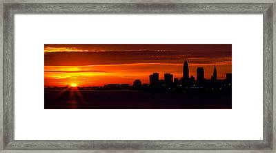 Cleveland Silhouette Framed Print by Dale Kincaid