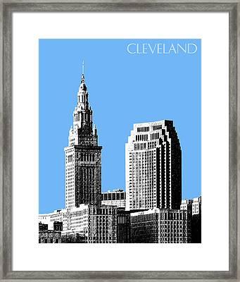 Cleveland Skyline 1 - Light Blue Framed Print