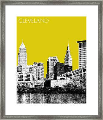 Cleveland Skyline 3 - Mustard Framed Print by DB Artist