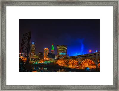 Cleveland Skyline At Christmas Framed Print