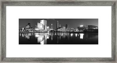 Cleveland Skyline At Dusk Black And White Framed Print by Jon Holiday